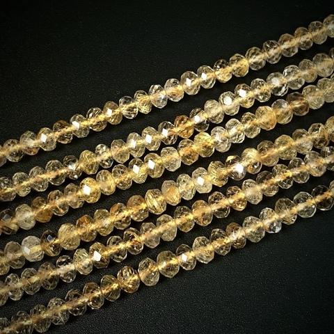 Бусины кварц рутиловый золотой АА рондель граненый 4,8х3,5 мм 8 бусин