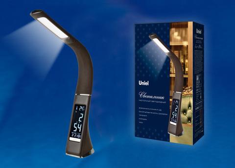 TLD-542 Brown/LED/300Lm/5000K/Dimmer Светильник настольный c часами, календарем, термометром, 5W. Сенсорный выключатель. Коричневый (стилизован под кожу). TM Uniel.