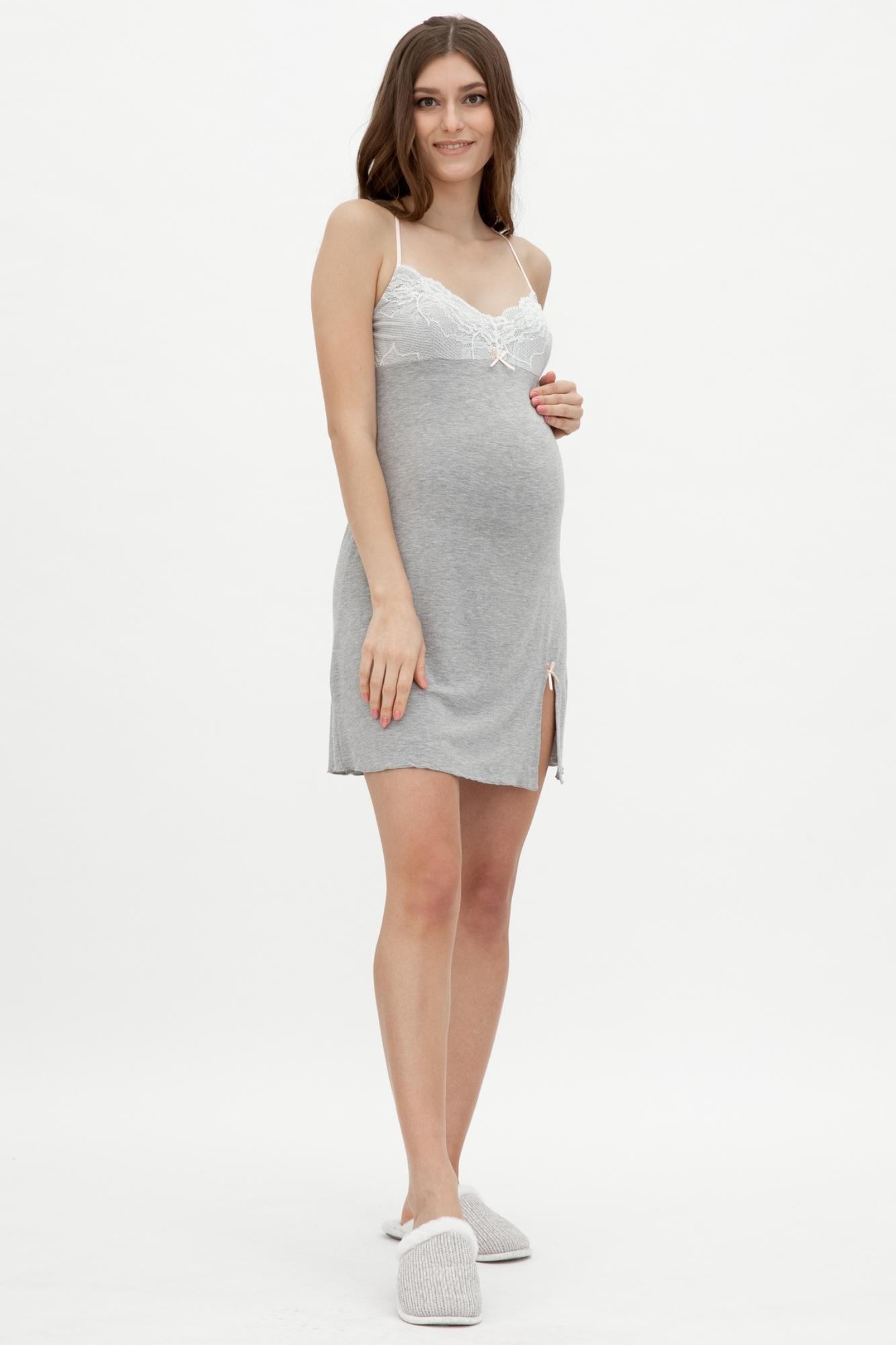 Ночная сорочка для беременных и кормящих 09614 серый