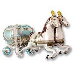 Шар ФИГУРА Карета свадебная с лошадьми 190 см