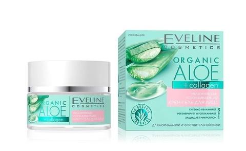 EVELINE ORGANIC ALOE+COLLAGEN Крем-гель для лица Увлажняюще-успокаивающий норм/чувствит кожи, 50мл