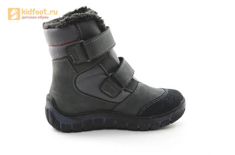 Зимние ботинки для мальчиков из натуральной кожи на меху Лель на липучках, цвет серый. Изображение 4 из 15.