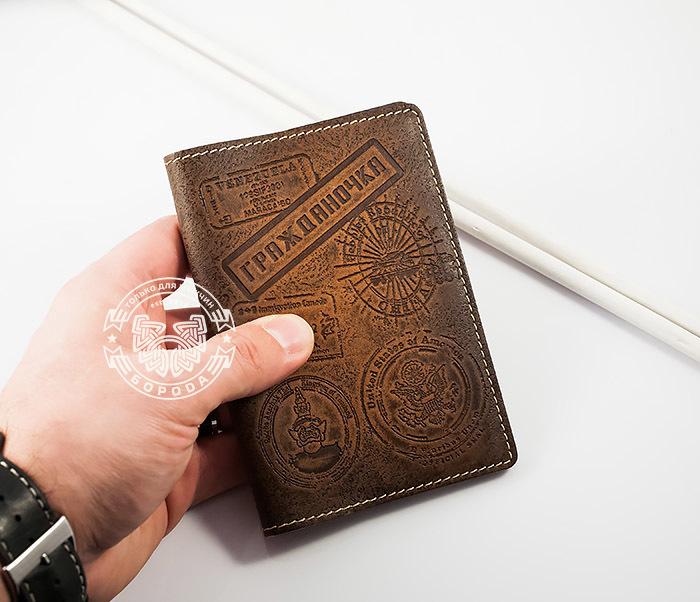 BY14-03-05 Кожаная обложка на паспорт «Гражданочка» фото 04
