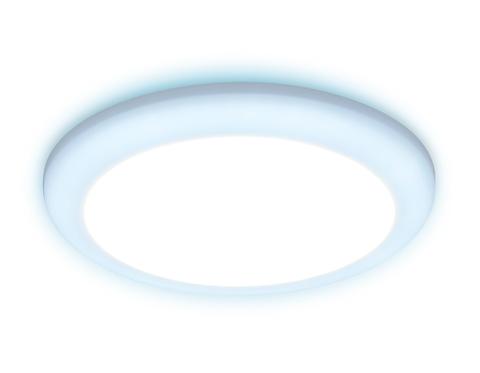 Встраиваемый cветодиодный светильник с подсветкой и регулируемым крепежом DCR313 24W+6W 4200K/6400K 85-265V D230*35 (A110-200)