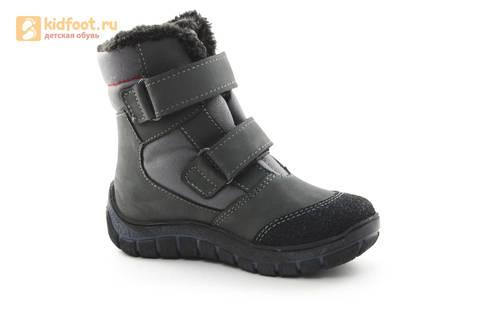 Зимние ботинки для мальчиков из натуральной кожи на меху Лель на липучках, цвет серый. Изображение 2 из 15.