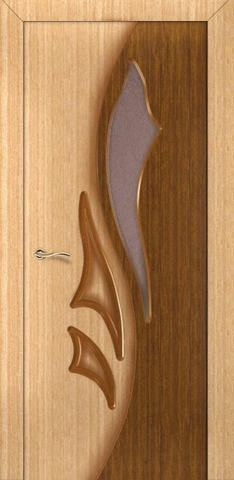 Дверь Румакс Элегия-дуэт ПО, цвет светлый дуб/орех, остекленная