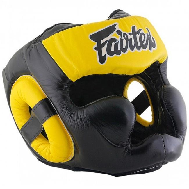 Шлемы Шлем Fairtex Headguard Full Cover HG13F Black/Yellow 1.jpg