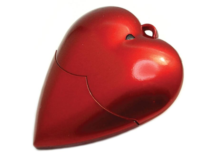 usb-флешка в виде сердца (красное пластик)