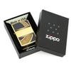 Зажигалка Zippo Gold & Black, латунь с покрытием Brushed Brass, золотистая с орнаментом, 36х12x56 мм