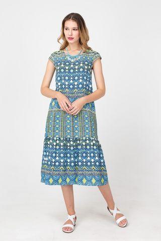 Фото голубое свободное платье с геометрическим принтом из вискозы - Платье З357-701 (1)