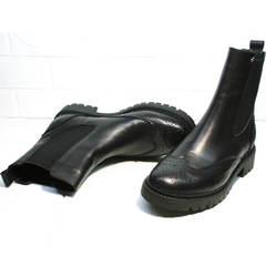 Осенние ботинки женские Jina 7113 Leather Black