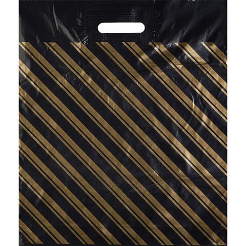 Пакет полиэтиленовый ПВД золотая полоса 40x47 см с вырубной ручкой (50 штук в упаковке)