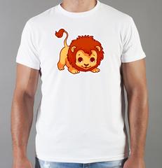 Футболка с принтом Лев (Lion) белая 0052
