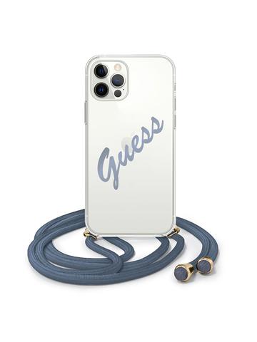 Чехол Guess для iPhone 12 Pro Max | PC/TPU ремень синий