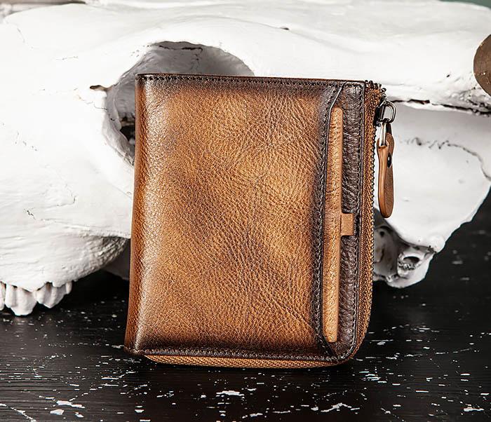 WL331-2 Мужское портмоне из натуральной коричневой кожи