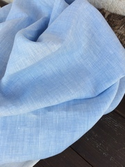 Лен костюмный 100%, цвет Джинсовый голубой