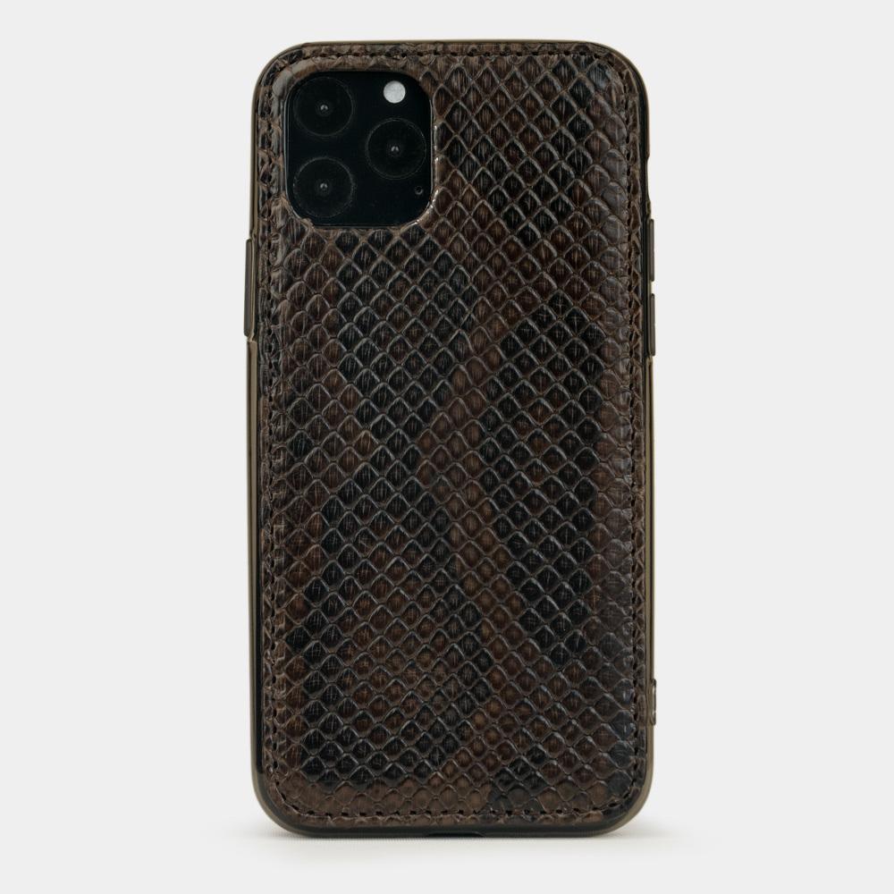Чехол-накладка для iPhone 11 Pro Max из натуральной кожи питона, темно-коричневого цвета