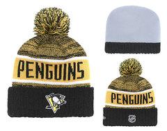 Шапка вязаная с помпоном и с логотипом НХЛ Питтсбург Пингвинз (NHL Pittsburgh Penguins)
