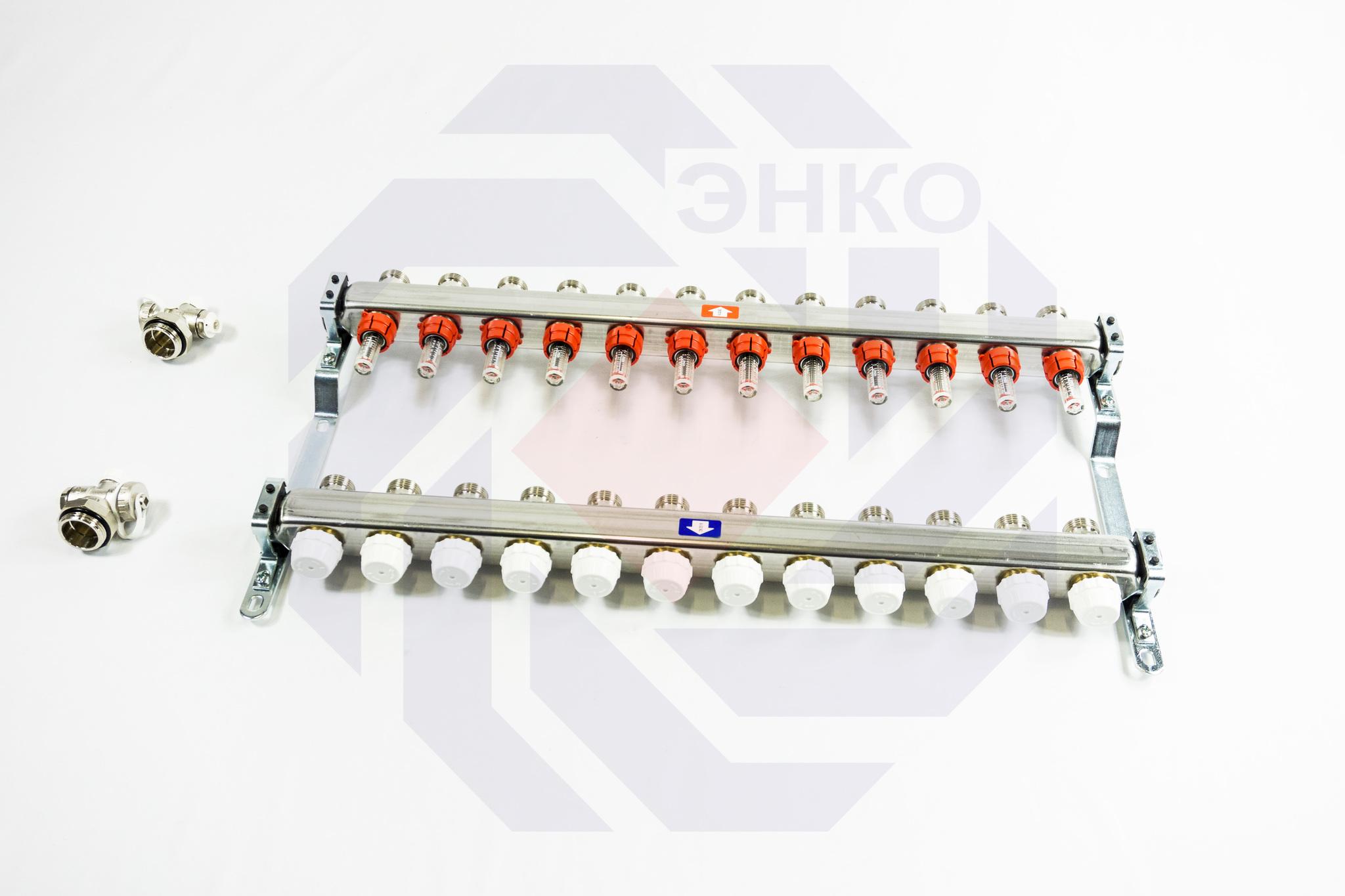 Комплект коллекторов с расходомерами ITAP 918C 12 контуров