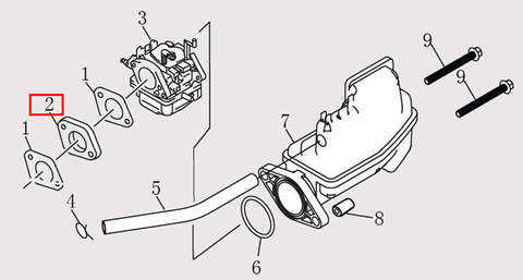 Прокладка карбюратора толстая для лодочного мотора F9.8 Sea-PRO (6-2)
