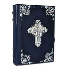 Библия с комментариями, серебряной филигранью и топазами