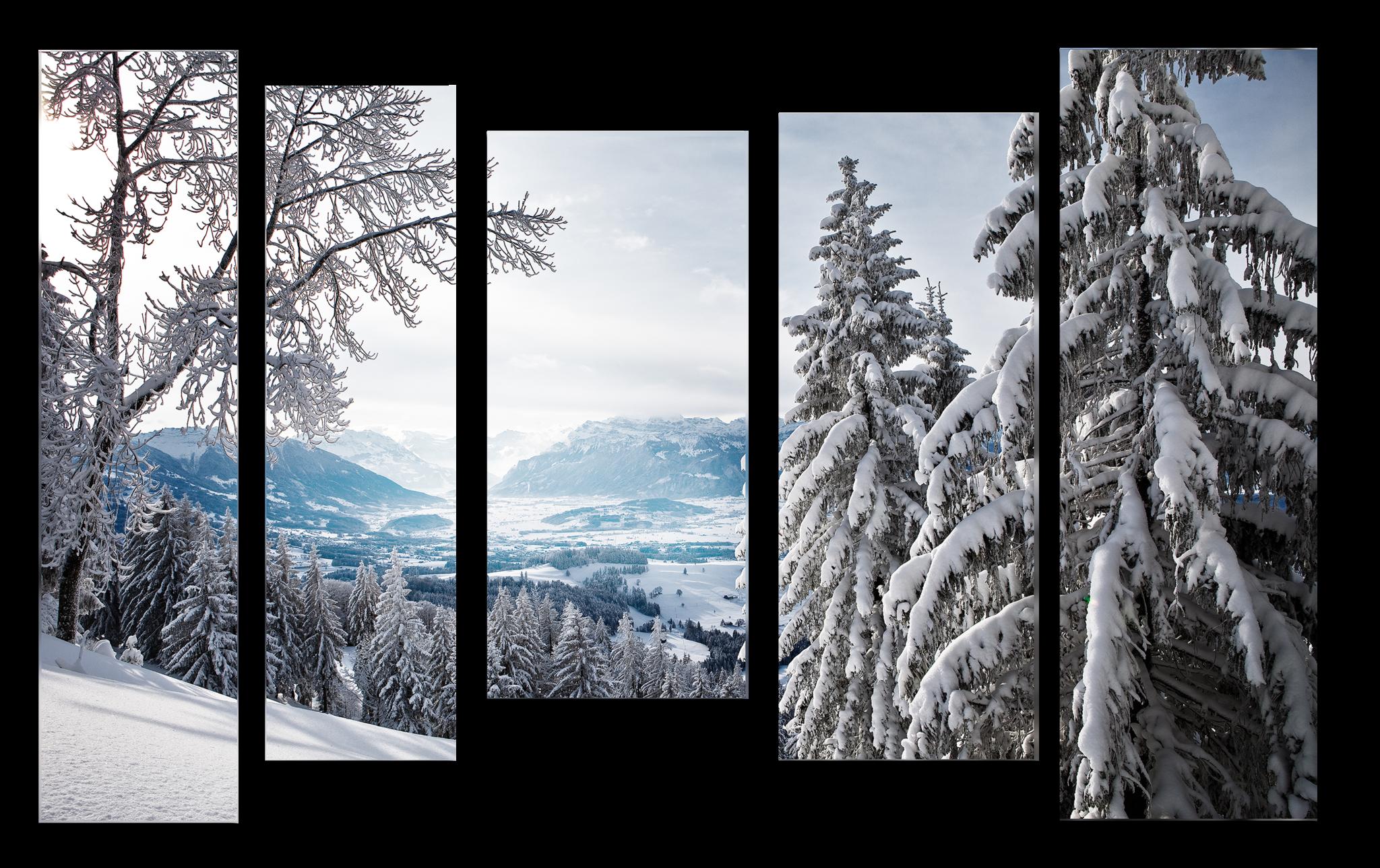 """Модульные картины Модульная картина """"Снежный лес"""" м1011.png"""