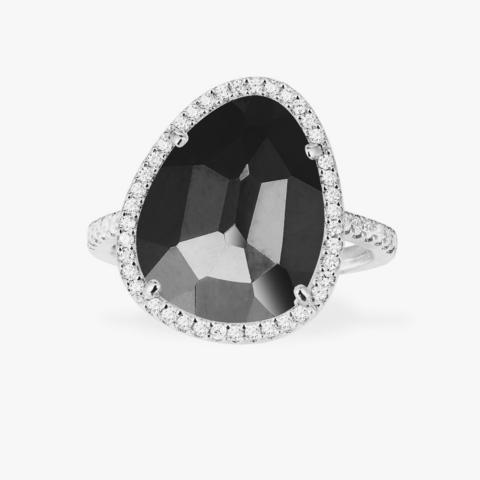 Кольцо из серебра с чёрным гематитом в стиле Apm Monaco