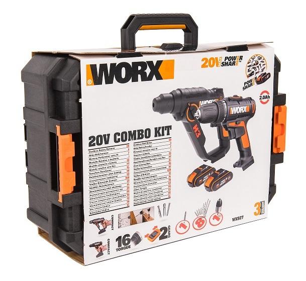 Комбо-набор: Дрель-шуруповерт аккумуляторная WORX WX101.9 + Перфоратор аккумуляторный WORX H3 WX390.1, 20В, 2Ач х2, ЗУ 2А, кейс с оснасткой