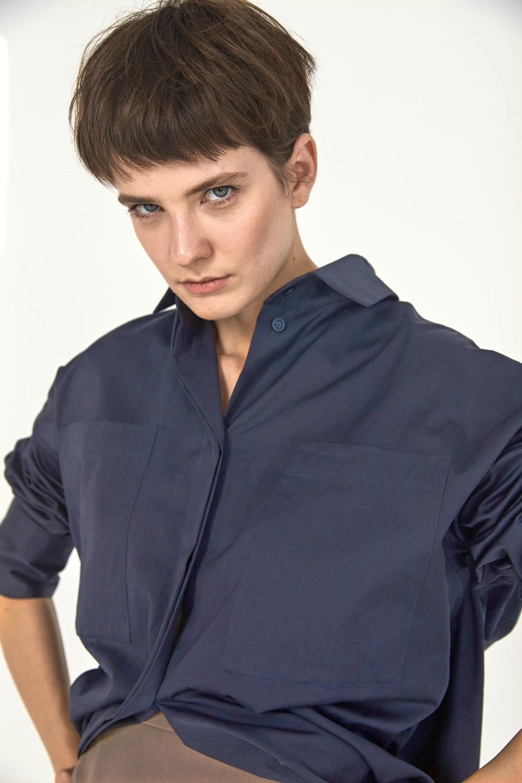 Рубашка оверсайз в мужском стиле, черничный