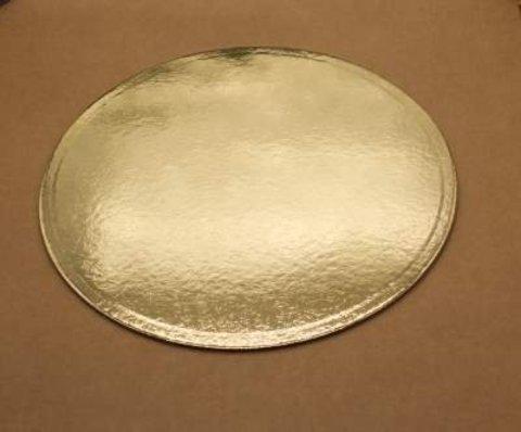 Подложка для торта 28см, толщ. 0.8 мм, золотая, круглая
