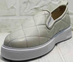 Кожаные кеды женские слипоны на платформе 2,5 см Alpino 21YA-Y2859 Cream.