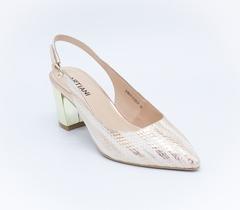 Босоножки золотистого цвета на среднем каблуке