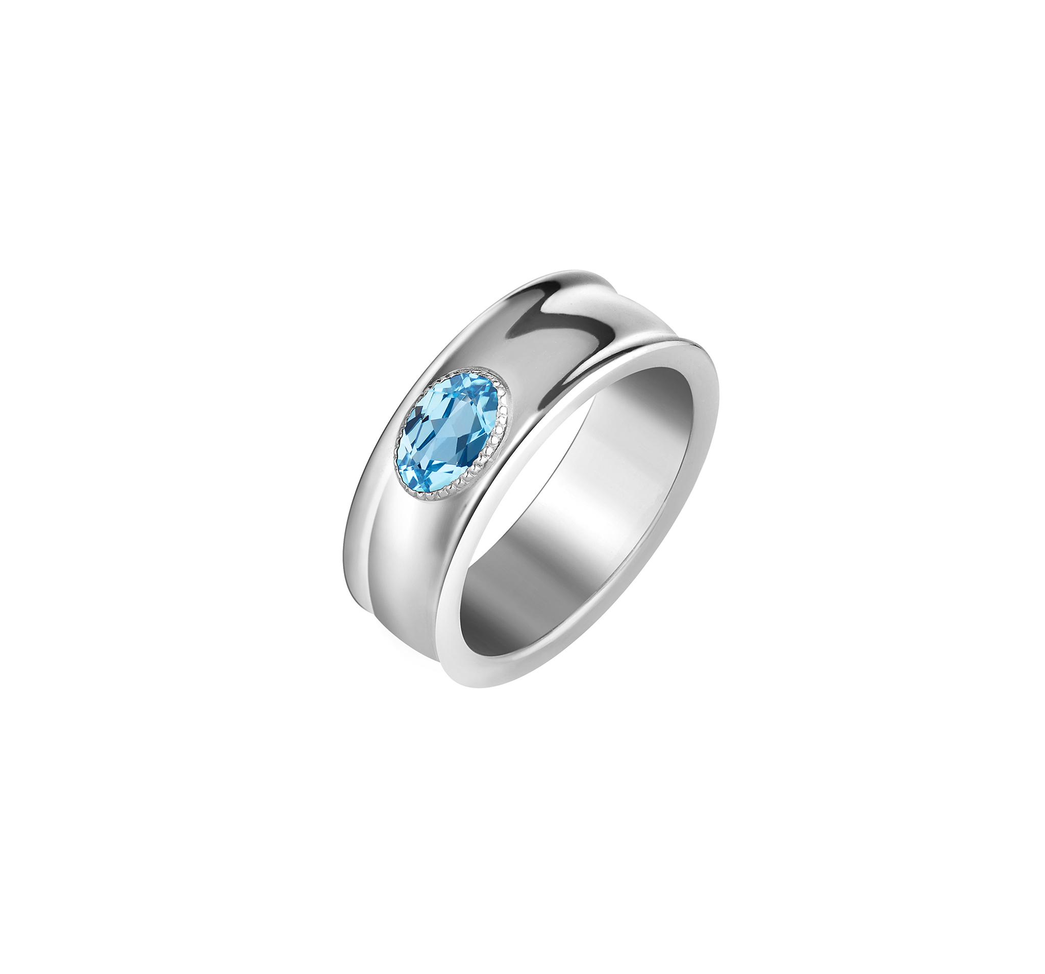 Кольцо широкое с голубым топазом