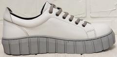 Кожаные женские кроссовки на платформе Guero G146 508 04 White Gray.