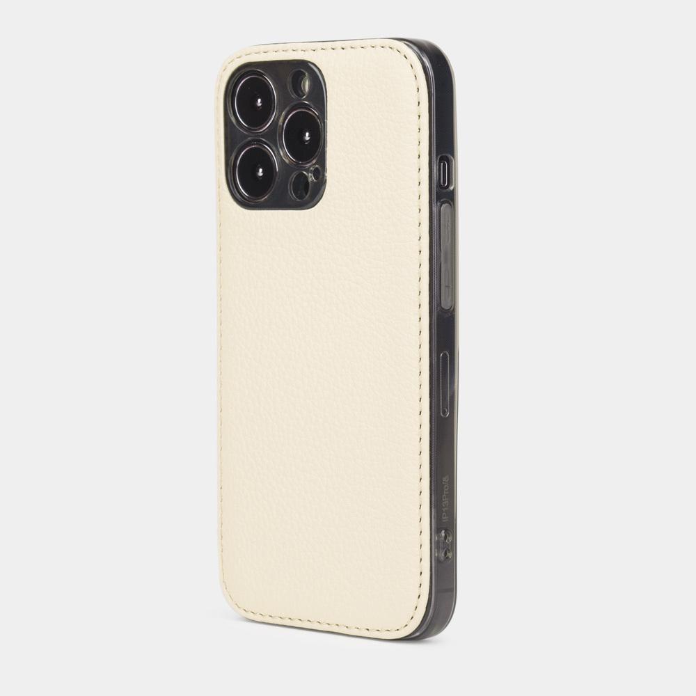 Чехол-накладка для iPhone 13 Pro из натуральной кожи теленка, цвета молока