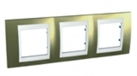Рамка на 3 поста. Цвет Золото/Белый. Schneider electric Unica Хамелеон. MGU66.006.804
