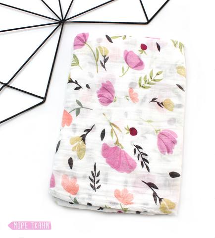 Муслиновая пеленка-цветы сиреневые(115х115см)