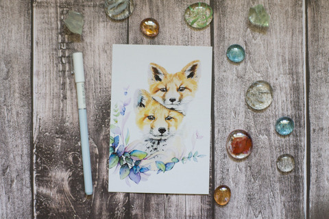 Акварельные лисички