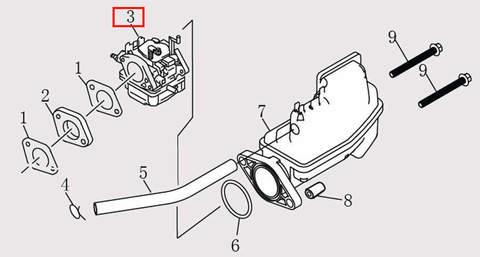 Карбюратор для лодочного мотора F9.8 Sea-PRO (6-3)