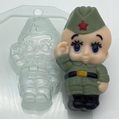 Пластиковая форма для шоколада муж. МАЛЫШ СОЛДАТ 100х50мм