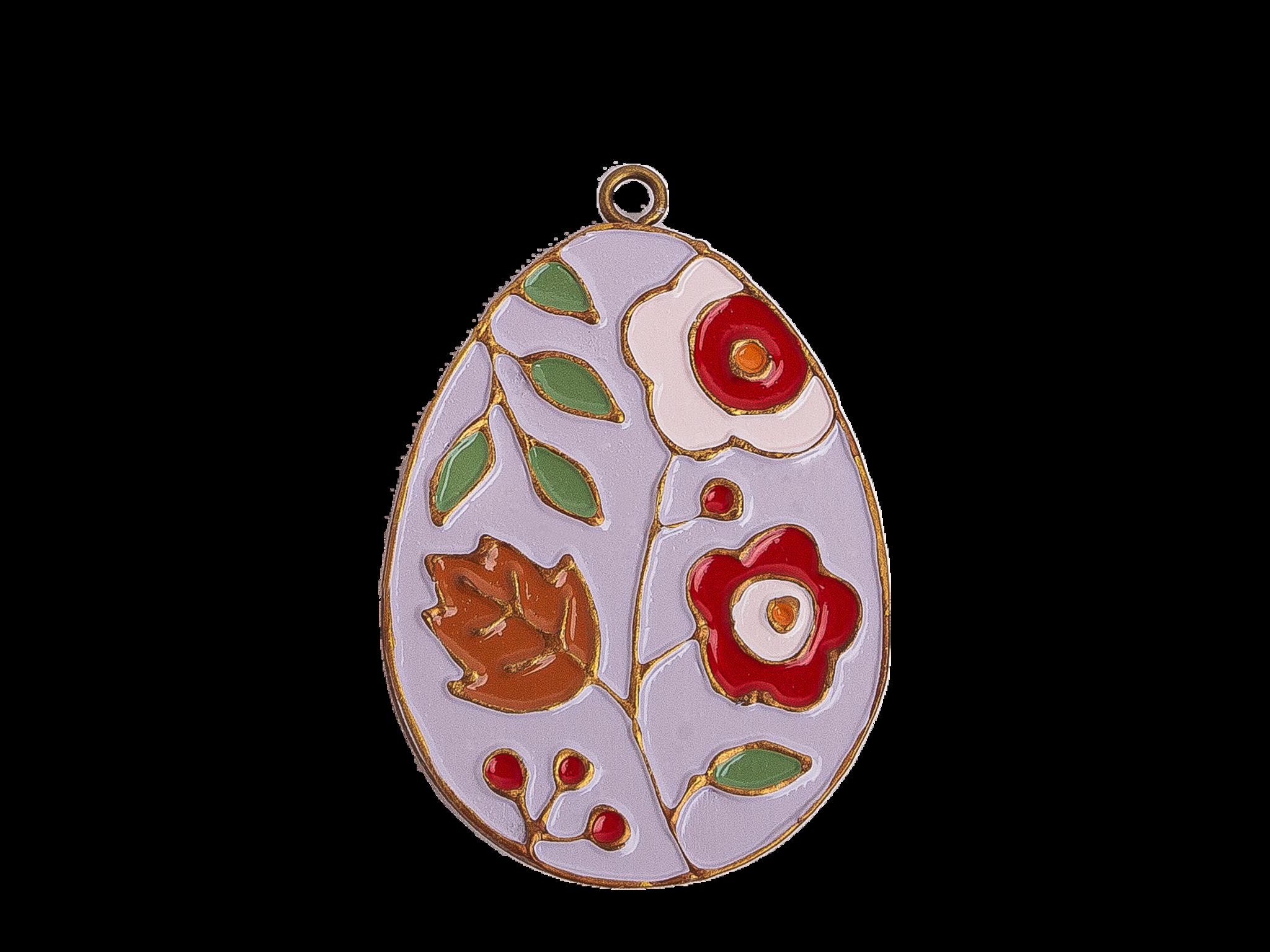 Пасхальное украшение Яйцо с Цветами, цвет: светло-лиловый