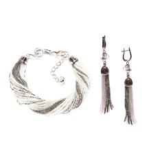 Комплект украшений из бисера серебристо-белый (серьги из бисера, бисерный браслет)