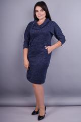 Єва. Стильна сукня великих розмірів. Меланж синій.