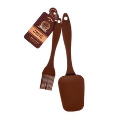 Набор кулинарный из силикона: кисточка 17,5 см, лопатка 23,5 см