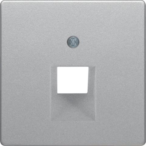 Лицевая панель tel/comp розетки UAE. Цвет Алюминий. Berker (Беркер). Q.1 / Q.3 / Q.7. 14076084