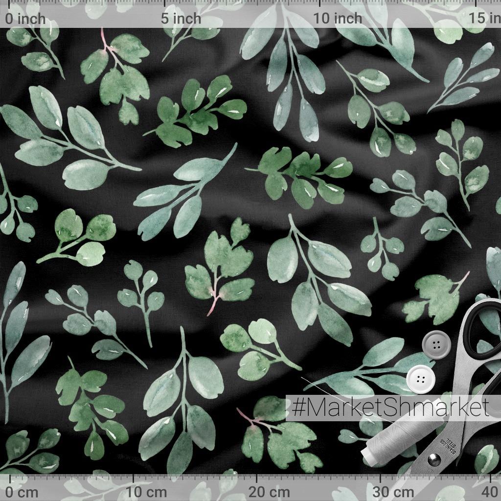 Greenery on a black background. Зелень на черном фоне.