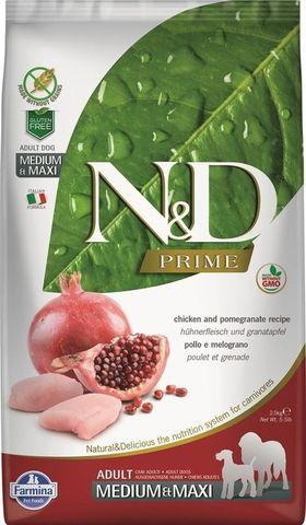 Farmina Dog N&D Prime Adult Medium & Maxi Chicken & Pomegranate, беззерновой для взрослых собак средних и крупных пород с курицей и гранатом 12 кг