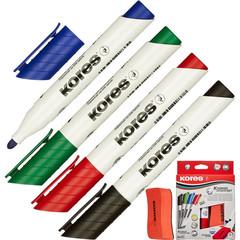 Набор принадлежностей Kores 20863 для магнитно-маркерной доски (4 маркера, губка)