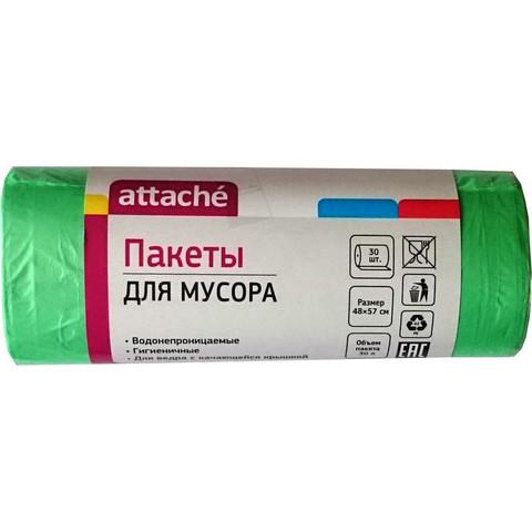Мешки для мусора на 30 л Attache зеленые (ПНД, 10 мкм, в рулоне 30 шт, 50х60 см)