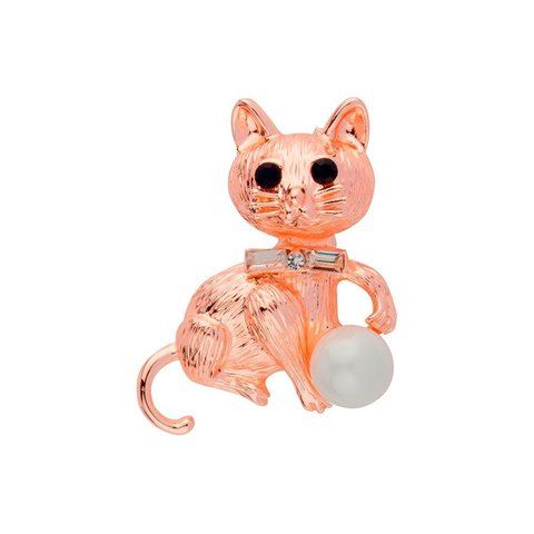 Брошь Кошка с жемчужиной FAN-07051 BW/RG